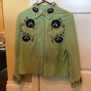 Beautiful green jacket with blue floral pattern